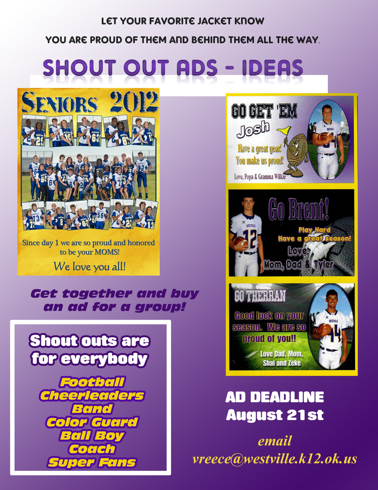 The deadline is approaching for shout out ads!